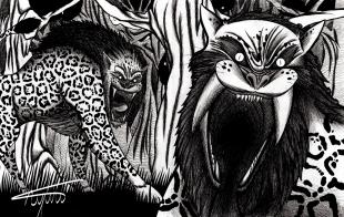 Onça com cascos de boi que dizem assombrar a região entre Amazonas e Acre. Os bichos sempre andam em pares, com um macho e uma fêmea. Para sobreviver é preciso matar primeiro a fêmea, pois assim o macho foge.