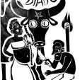 O DIABO. Figurando as tentações, provocações, a luxúria e o egoísmo temos a figura da lenda de Catirina (figura fundamental do Bumba meu boi, a escrava Catirina, grávida e desejosa, pede ao marido Chico (ou Pai Francisco) para comer língua de boi. O escravo atende ao desejo da esposa, matando o boi, e sendo preso a mando do dono da fazenda. Com a ajuda de curandeiros, o boi é então ressuscitado)