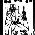 O PAPA. Carta que simboliza benção, moral, mansidão, equilíbrio e generosidade na figura do Babalorixá (o mais alto grau hierárquico, chefe do terreiro que também pode ser denominado Diretor de culto. Aquele ou aquela que dirige o terreiro e que exerce toda a responsabilidade espiritual dentro dele. É o pai ou a mãe-de-santo responsável pela feitura dos médiuns, os filhos-de-santo.)